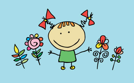 Little cartoon girl with flowers, vector. T-shirt graphic. cartoon character. Ilustracja