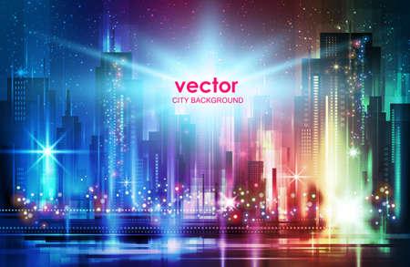City, night panorama vector illustration