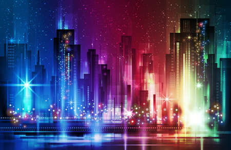 Night city background, vector illustration with architecture.