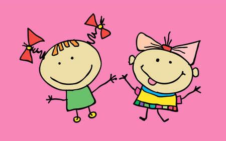 Hand drawn beautiful cute cartoon little girls best friends. Vector illustration. T-shirt graphic. cartoon character. Vettoriali