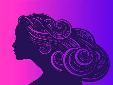 Beautiful girl with long thick wavy hair. Beauty salon icon Vector illustration