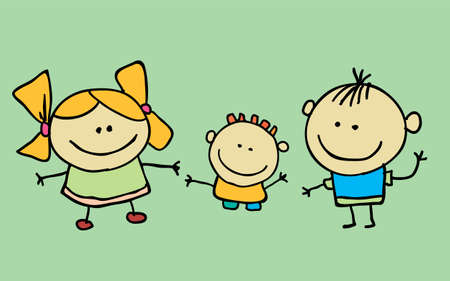 Cute cartoon kids, girl and boy, vector illustration. T-shirt graphic. cartoon character.
