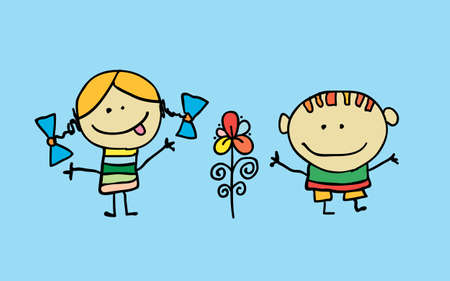 Cute cartoon kids, girl and boy with flower, vector illustration. T-shirt graphic. cartoon character.