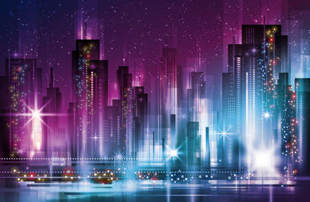Night cityscape with illuminated buildings and road, illustration with architecture, skyscrapers, megapolis, buildings, downtown.