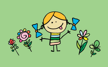 Little cartoon girl with flowers, vector. cartoon character.