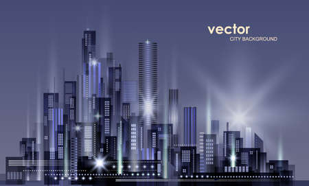 Night city background, with glowing lights, illustration with architecture, skyscrapers, megapolis, buildings downtown Illustration
