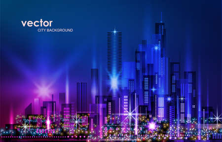 Night city background, with glowing lights, illustration with architecture, skyscrapers, megapolis, buildings downtown Ilustracja