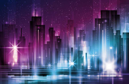 Illustration of night urban city landscape. Big modern city with skyscrapers in night time with lights, illustration with architecture, skyscrapers, megapolis, buildings, downtown. Ilustracja