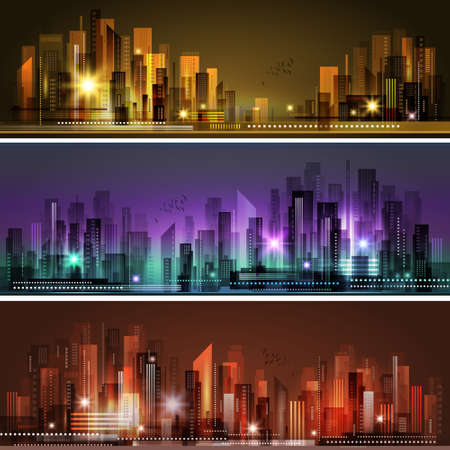 Abstract city skyline header set Zdjęcie Seryjne