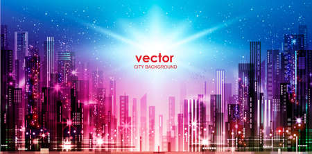 vector background of the night city with blurred lights, vector illustration