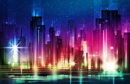 Illustration of a night glowing neon city a multi-storey group of buildings in a bright glow. illustration with architecture, skyscrapers, megapolis, buildings, downtown.