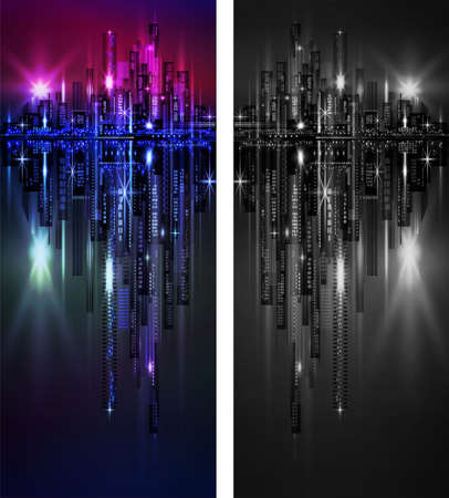 waterfront city skyline at night vertical banner