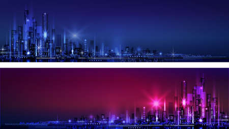 city skyline at night horizontal banner Ilustracja