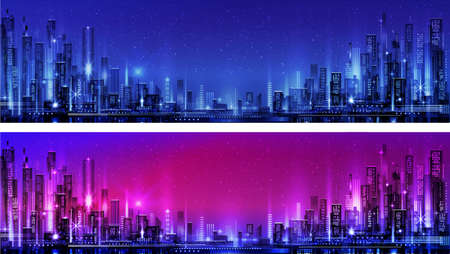 Night city illustration with neon glow and vivid colors. illustration with architecture, skyscrapers, megapolis, buildings, downtown