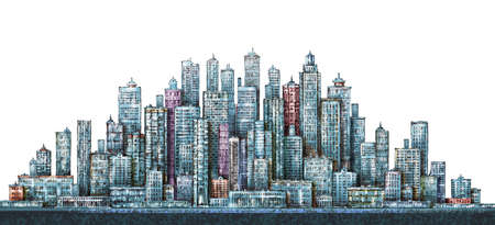 Illustration with architecture, skyscrapers, megapolis, buildings downtown Фото со стока