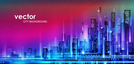 Night city illustration with neon glow and vivid colors. illustration with architecture, skyscrapers, megapolis, buildings, downtown.