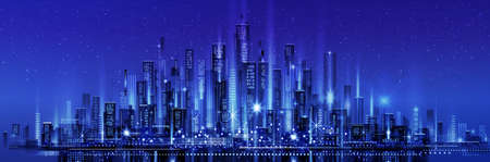 Night city skyline with neon glow. Illustration with architecture, skyscrapers, megapolis, buildings, downtown.