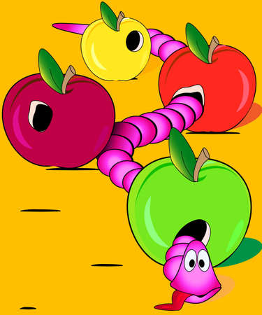 Illustration of the exhausted pink worm overate three apples Vector