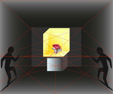 burglary: Illustration of the stealing robbers up to the glass case with a red diamond