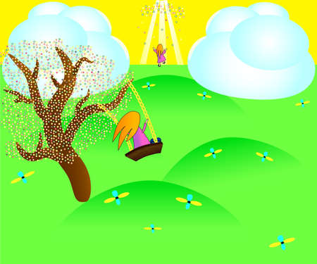 brown haired girl: Illustration of the red-haired girl on the swing attached to the tree in paradise