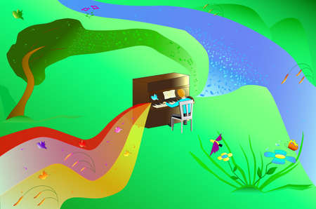 Illustration man playing the piano with nature Vector