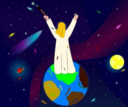 creador: Ilustración de Dios como creador del espacio, los planetas y las estrellas