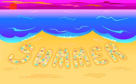 seacoast: Illustration summer composed of seashells on seacoast