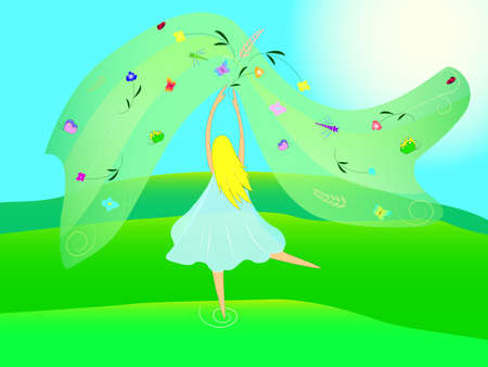 Illustration Summer girl on the meadow Vector