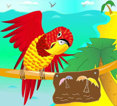 inviting: Illustration of the tropical coast with the parrot on the branch inviting to the vacation