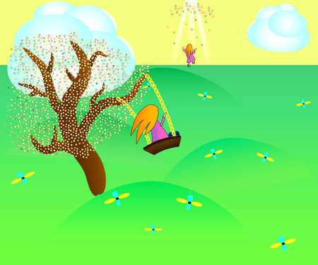 Illustration of the red-haired girl on the swing attached to the tree in paradise