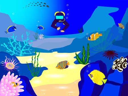 Illustration sea landscape and scuba diver Vector