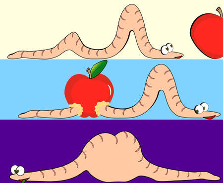 Illustration of the pink worm swallowed the whole red apple Vector