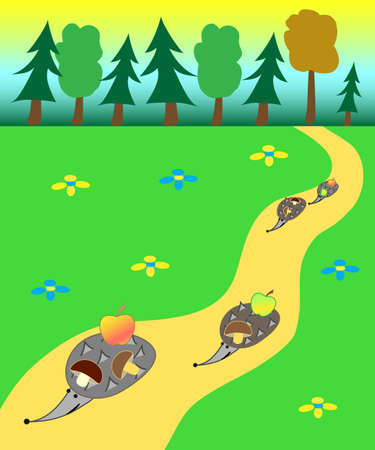 Illustration of the hedgehogs gone out a forest and carrying the found apples and mushrooms Vector