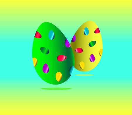 illusration of two eggs with stickers Vector