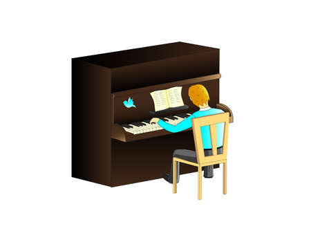 Vector illustration man playing the piano on white Vector