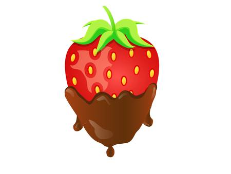 Vector illustration strawberry in chocolate Vector