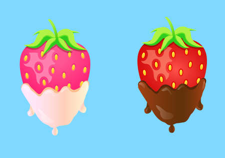 Vector illustration two strawberries in cream and chocolate on blue background Illustration