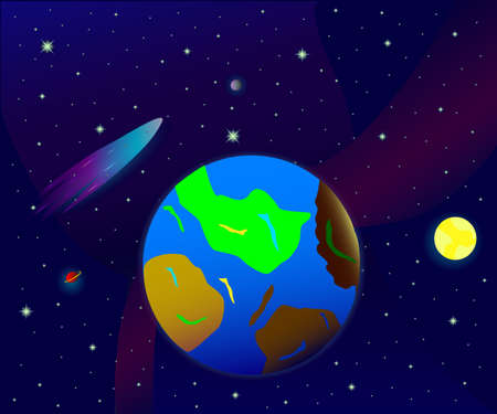 orbital: Vector background of space, earth, stars and planets
