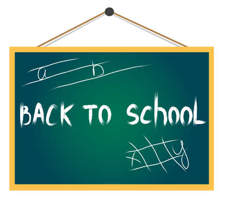Vector text back to school on the green board Stock Vector - 15286831