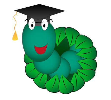 Vector illustration look out student worm Vector