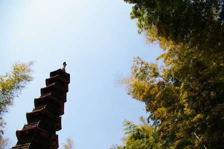 inseparable: Ancient architectural pagoda under the clear blue sky
