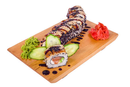 peanut sauce: composition of sushi Dragon with avocado