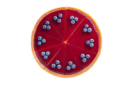 round cheesecake with blueberries top view on a white background