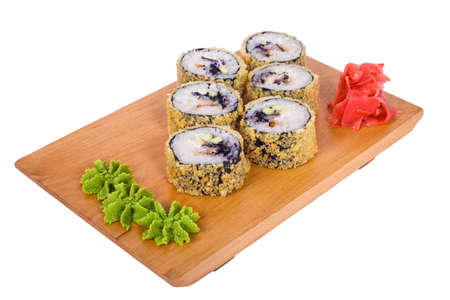 Sushi with fish in the rice on a light background photo