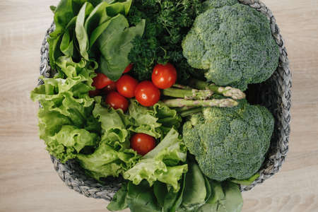 basket with fresh local vegetables on the table