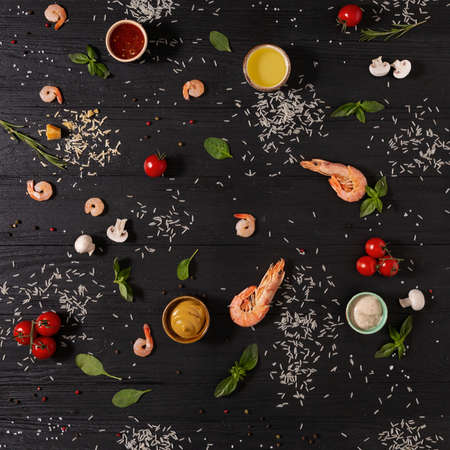 food on wooden table background top view pattern Imagens