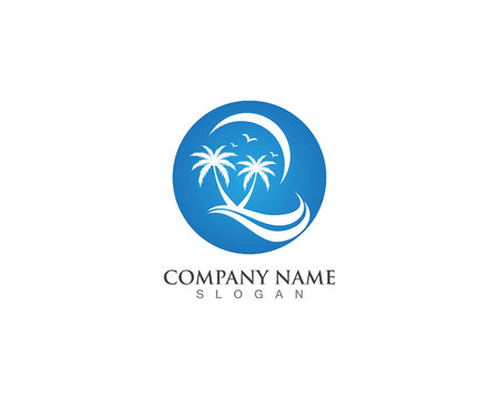 Palm logo and vector design tree template Illustration