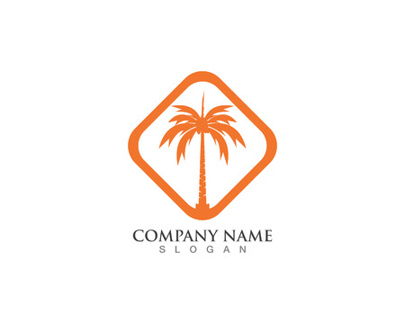 Palm logo and vector design tree template 일러스트