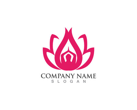 Beauty Vector and logo Lotus Flower Sign for Wellness, Spa and Yoga Illustration