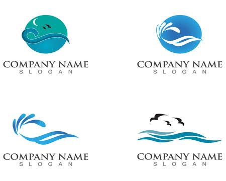 Waves of sea or ocean waves, blue water, splash and gale, vector illustration 일러스트